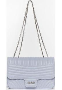 Bolsa Retangular Com Pespontos & Tag - Azul Claro - Griffazzi