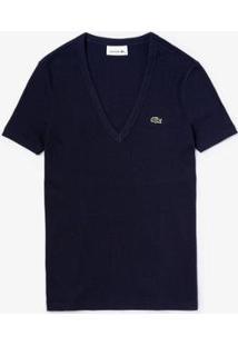 Camiseta Lacoste Gola V Feminina - Feminino-Azul Navy