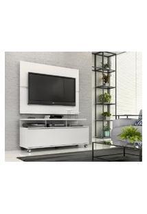 """Rack Com Painel Home Buzios 1,2 M Para Tv 48"""" Branco Branco"""