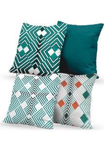 Kit 4 Capas De Almofadas Decorativas Own Verde Estampa Geométrica 45X45 - Somente Capa