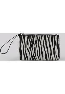 Carteira Feminina Estampada Animal Print De Zebra Alça De Mão Preta