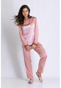 Conjunto De Pijama Acuo Longo De Cetim Fada Feminino - Feminino-Rosa