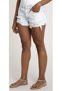 Short Jeans Feminino Cintura Alta Lateral Curta Destroyed Azul Claro
