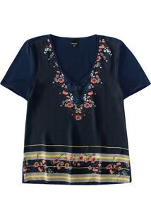 Blusa Floral Com Cetim Malwee Azul Escuro - Pp
