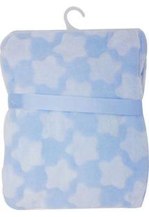 Cobertor Infantil De Estrelas- Azul Claro & Branco- Niazitex