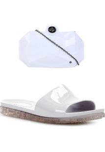 Kit Shoestock Rasteira Slide + Bolsa Clutch Feminina