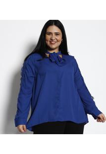 7f8303dc5 ... Blusa Com Recorte Em Renda - Azul Escurorovitex