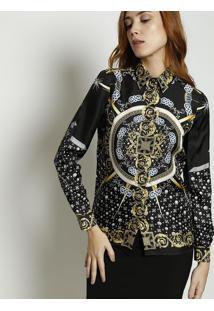 1023f44947 ... Camisa Acetinada Em Seda - Preta   Amarelaversace Collection