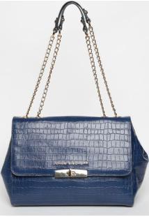 Bolsa Em Couro Com Lapela - Azul Marinho- 25X30X13Cmjorge Bischoff