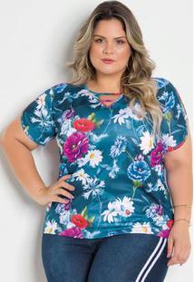 Blusa Floral Plus Size Com Tiras
