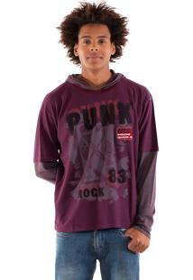 Camiseta Konciny Manga Sobreposta Violeta