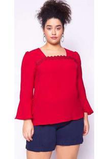 Blusa Almaria Plus Size Lasala Liso Vermelho Vermelho