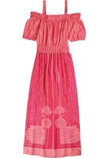 Vestido Rosa Longo Floral Em Viscose