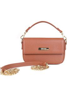 Bolsa Santa Lolla Mini Bag Alça Corrente Feminina - Feminino-Caramelo