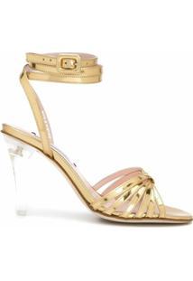 Leandra Medine Sandália Com Salto Transparente - Dourado