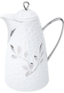 Garrafa Térmica De Porcelana Branca 650Ml Folhas Wolff