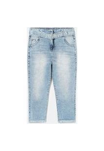 Calça Jeans Baggy Lisa Com Cinto E Fivela De Metal Curve E Plus Size Azul