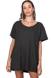 T-Shirt Fash Bies Basic Oversized Cinza