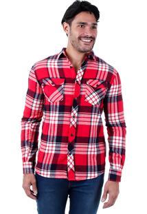 Camisa Casual Xadrez Masculina Broken Rules - Vermelho
