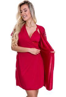 Robe Estilo Sedutor Em Microfibra E Renda Vermelho - Es207 - Vermelho - Feminino - Dafiti