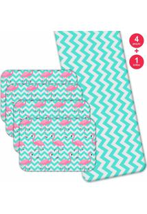 Jogo Americano Love Decor Com Caminho De Mesa Wevans Flamingos Kit Com 4 Pçs 1 Trilho