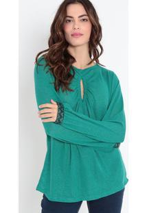 Blusa Com Vazado & Franzidos - Verde Escuromorena Rosa