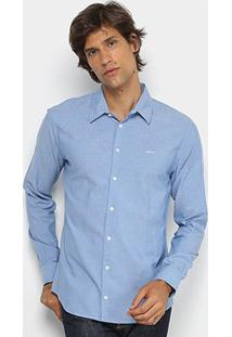 Camisa Colcci Manga Longa Slim Mesclada Masculina - Masculino-Azul