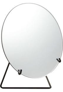 Espelho Com Suporte- Espelhado & Preto- 27,5X25X14Cmmart