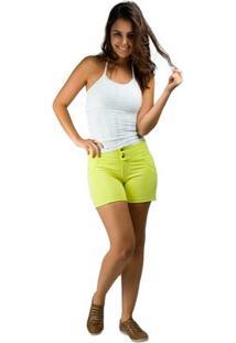 Bermuda Banna Hanna Com Recorte Montaria 2 Botoes - Feminino-Amarelo