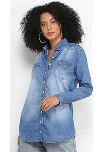 Camisa Jeans Disparate Feminina - Feminino-Azul