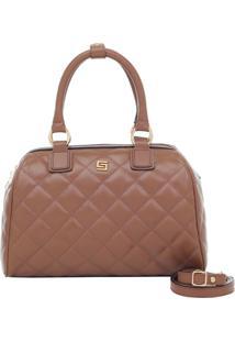 Bolsa Smart Bag Baú Couro Matelassê - Feminino-Caramelo