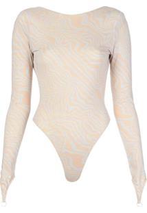 Maisie Wilen Body Com Abertura Posterior Com Estampa Gráfica - Neutro
