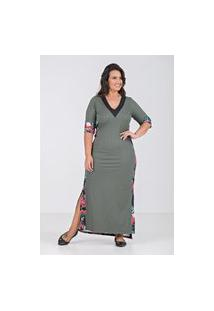 Vestido Longo Barra Desigual- Plus Size Verde