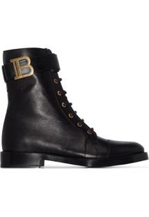 Balmain Ankle Boot Ranger De Couro Com Cadarço - Preto