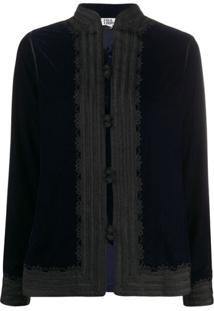 Folkloore Moroccan Silk Jacket - Azul