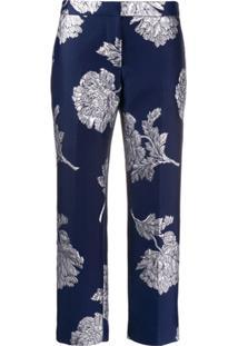 Alexander Mcqueen Calça Com Bordado Floral - Azul