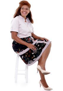 Camisa Vickttoria Vick Eugãªnia Beige Plus Size - Bege - Feminino - Dafiti