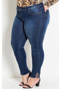 Calça Jeans Plus Size Cigarrete Com Detalhe Onça