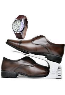 Kit Sapato Social Com Cadarço, Organizador E Relógio Dubuy 807Db Marrom - Kanui