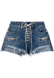 Unravel Project Vintage Chaos Lace-Up Denim Shorts - Azul