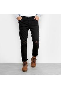 Calça Sarja Ellus Com Puídos Masculina - Masculino-Preto