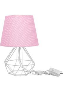 Abajur Diamante Dome Rosa/Bolinha Com Aramado Branco