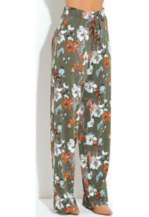 Calça Pantalona Floral Verde Cintura Alta