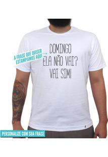 Estampe Sua Frase Fonte Fina - Camiseta Clássica Masculina