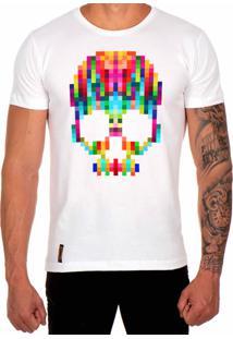 Camiseta Lucas Lunny T Shirt Estampada Caveira Pixel Branco