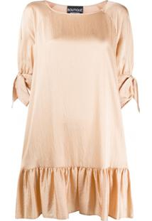 Boutique Moschino Vestido Texturizado Com Amarração - Neutro