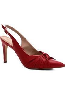 Scarpin Shoestock Salto Baixo Delicado Couro - Feminino-Vermelho