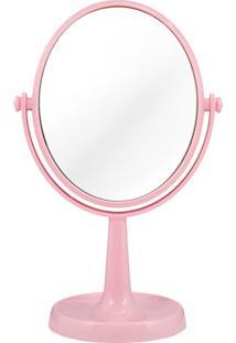 Espelho De Bancada Dupla Face- Espelhado & Rosa Claro