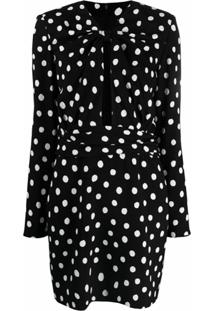 Saint Laurent Vestido Com Poás - Preto