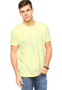 Camiseta Manga Curta Colcci Slim Estampada Amarela